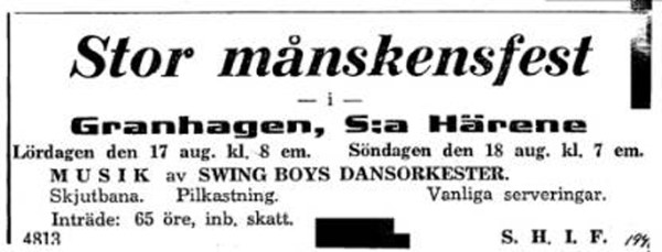 SHIF-annons 1940